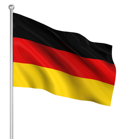 flagpole: Germany flag , computer generated image. 3d render. Stock Photo
