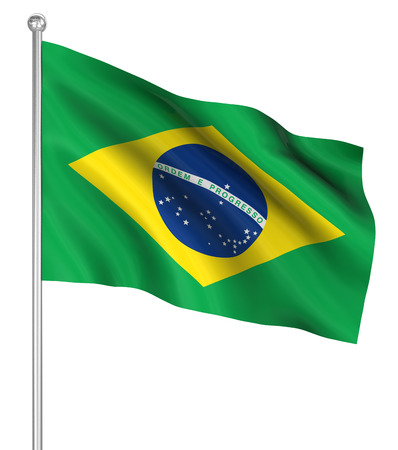 computer generated image: Brazil flag , computer generated image. 3d render. Stock Photo