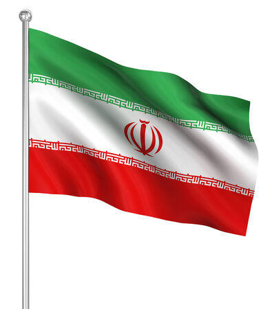 the computer generated: Iran flag , computer generated image. 3d render. Stock Photo