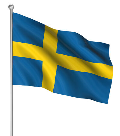 the computer generated: Sweden flag , computer generated image. 3d render.