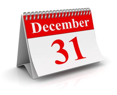 december 31: December 31, computer generated image. 3d render.