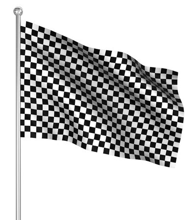 Checked start flag , computer generated image. 3d render. photo