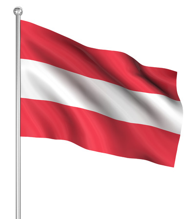computer generated image: Austria flag , computer generated image. 3d render. Stock Photo