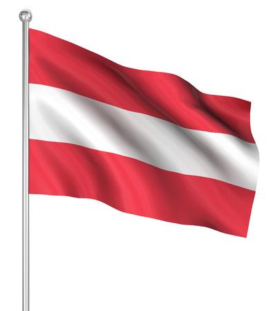 computer generated image: Austria flag, immagini generate al computer. Rendering 3D. Archivio Fotografico