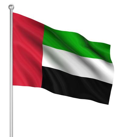 arab flags: United Arab Emirates flag , computer generated image. 3d render. Stock Photo