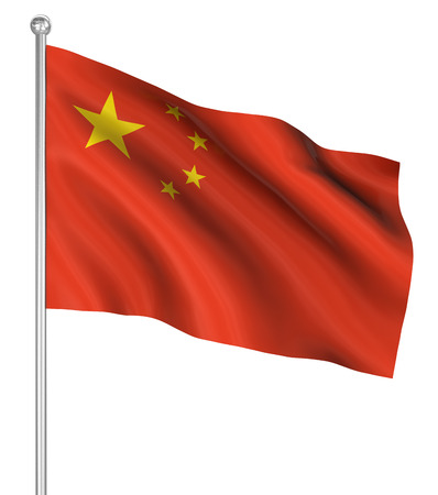 prc: China flag , computer generated image. 3d render.