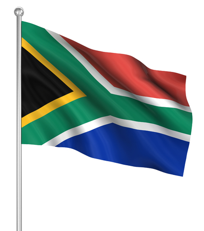south pole: South Africa flag , computer generated image. 3d render.