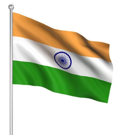 computer generated image: India flag , computer generated image. 3d render.