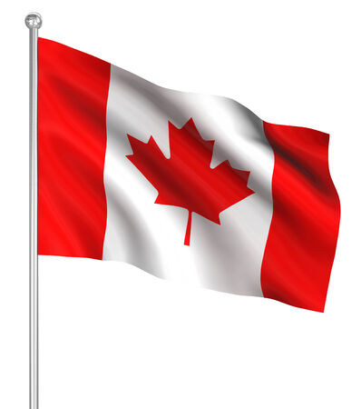 rendered: Canada flag , computer generated image. 3d render.