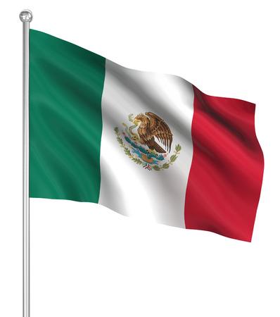 Imagen de la bandera de México, generado por ordenador. 3d.