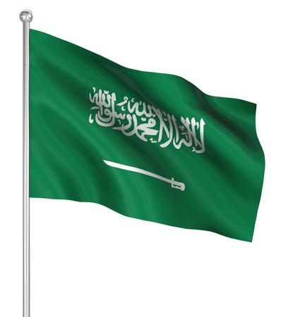 computer generated image: Saudi Arabia flag , computer generated image. 3d render. Stock Photo