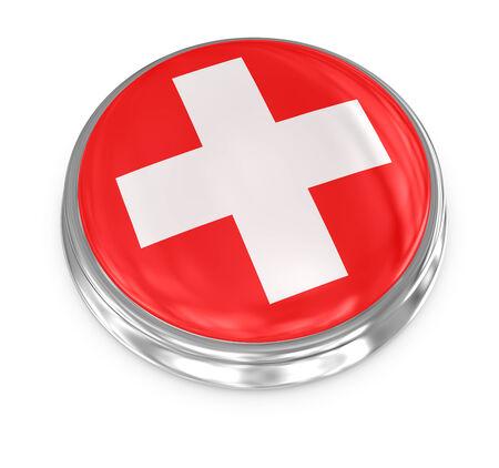 Swetzerland badge , computer generated image. 3d render. photo