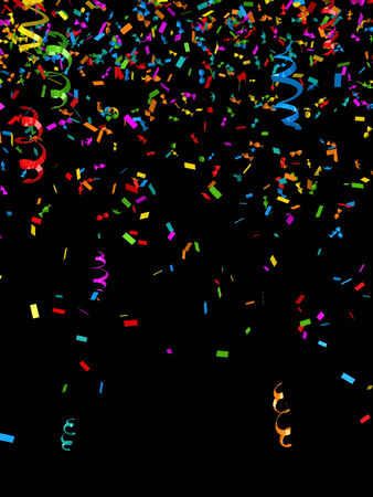 black background: Colorful confetti, computer generated image. 3d render.
