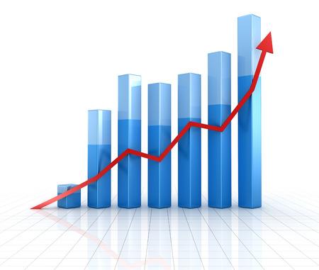 ビジネス グラフ、コンピューターには、イメージが生成されます。3 d レンダリングされた画像。