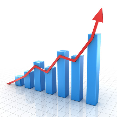 growth arrow: Bar graph , computer generated image. 3d rendered image.