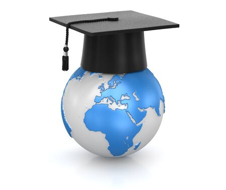 Mortar board and world , computer generated image. 3d rendered image.