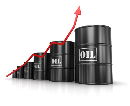 oil and gas industry: Oil barrels with increasing arrow , computer generated image. 3d rendered image.