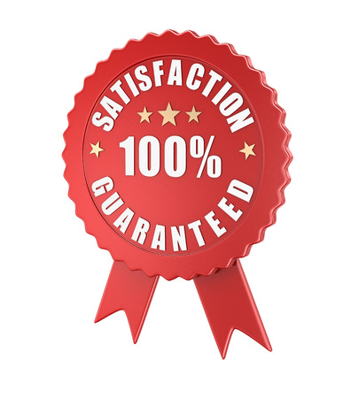 Satisfaction guaranteed , computer generated image. 3d rendered image. Stock Photo