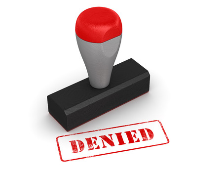denied: Rubber stamp - denied , computer generated image. 3d rendered image.