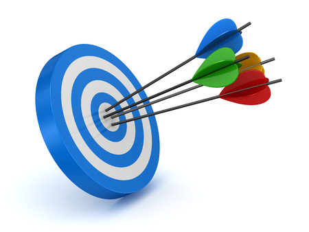 shooting target: Target and arrow , computer generated image. 3d rendered image.