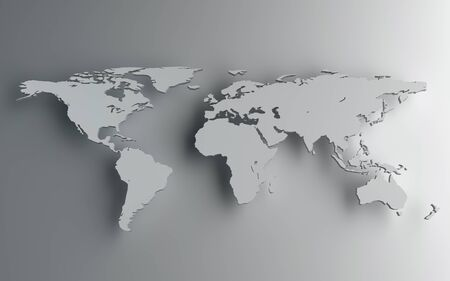 global background: World map , computer generated image. 3d rendered image.