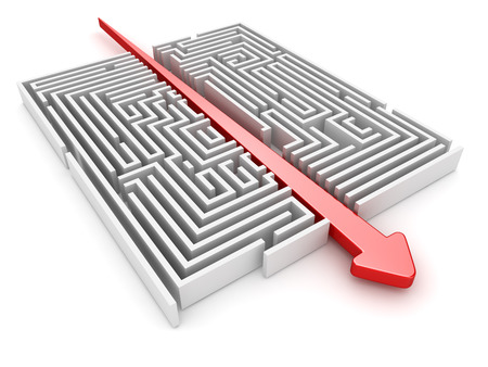 solved maze puzzle: Maze and arrow , computer generated image. 3d rendered image.