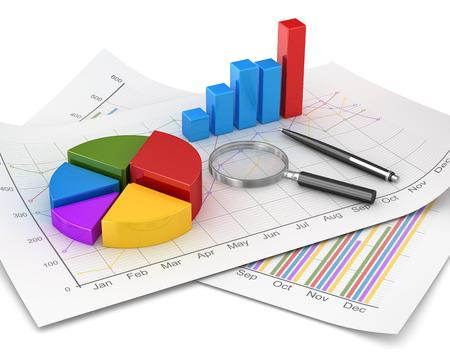 Grafiek en Financiën concept, taart en staafdiagram en vergroot glas en pen op financiële papieren. 3D render afbeelding en computer gegenereerde afbeelding.