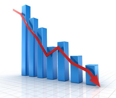 下向きの赤矢印の青チャートを落ちています。3 d のレンダリングおよびコンピューター生成イメージ。