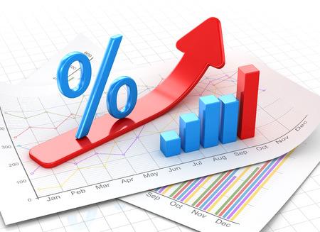 パーセント記号とビジネス金融紙、赤い矢印移動チャートします。3 d のレンダリングおよびコンピューター生成イメージ。