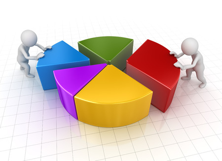 Business Man Pushing to Pie Chart Piece, 3d render and computer generated image.