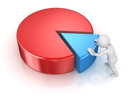 man pushing: Business Man Pushing to Pie Chart Piece, 3d render and computer generated image.