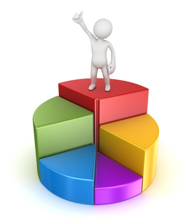 Business man on colorful pie chart , 3d render and computer generated image.