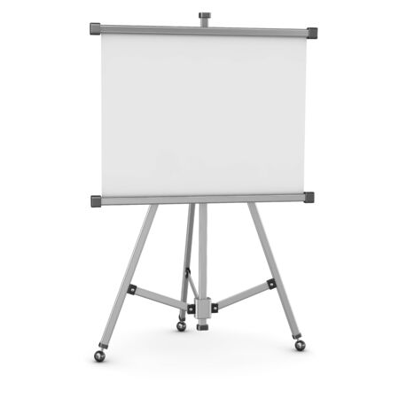 empty whiteboard. 3d render and computer generated image. isolated on white. Stock Photo