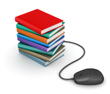 data dictionary: Stack of books with computer mouse. e-book concept. 3d render and computer generated image.