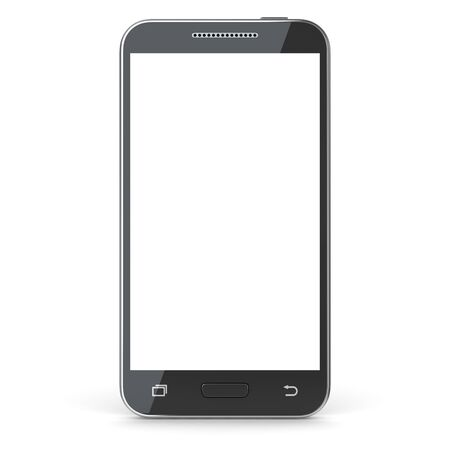 mobile phone: Smartphone with blank screen. 3d render and computer generated image. isolated on white.