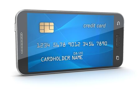 creditcard: Smartphone with creditcard screen. 3d render and computer generated image. isolated on white.