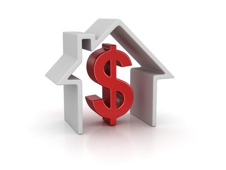 하우스와 달러 기호입니다. 3d 렌더링 및 컴퓨터 생성 이미지입니다. 흰색으로 격리.