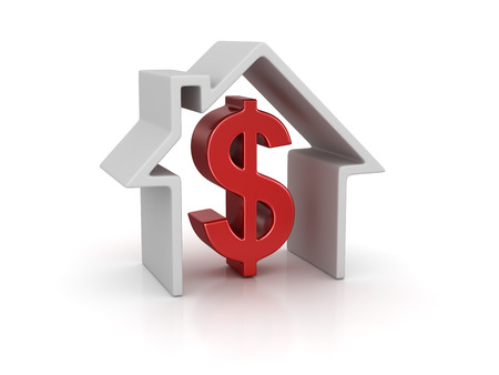 House and dollar sign. 3d render and computer generated image. isolated on white.