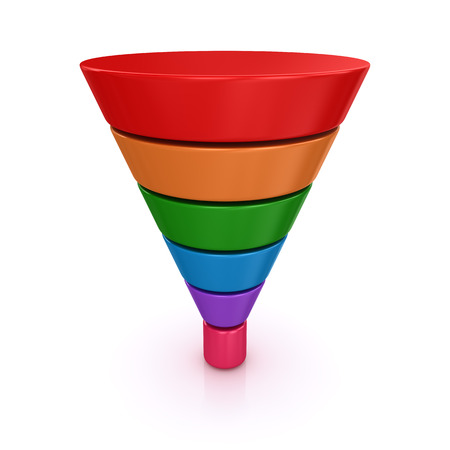 Funnel chart. 3d render and computer generated image. isolated on white.