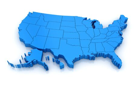 america: Map of USA. 3d render and computer generated image. isolated on white.