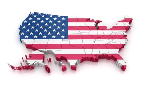 computer generated: Map of USA with flag. 3d render and computer generated image. isolated on white.