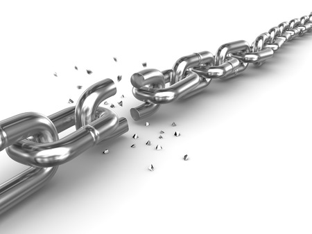 group chain: Broken chain. 3d render and computer generated image.