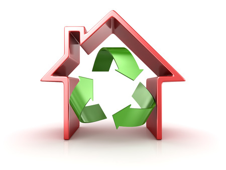 Recycle symbol in house. 3d render and computer generated image.