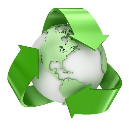 globo: Riciclare simbolo di terra. Rendering 3D e immagini generate al computer.