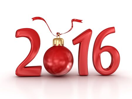 new ball: New year 2016. 3d render and computer generated image. Stock Photo