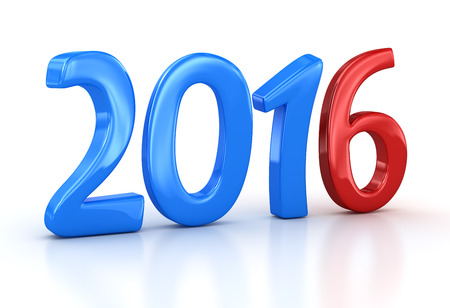 New year 2016. 3d render and computer generated image. Stock Photo