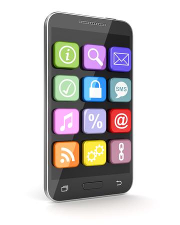 アプリケーション アイコンのタッチ スクリーンのスマート フォン。3 d のレンダリングおよびコンピューター生成イメージ。