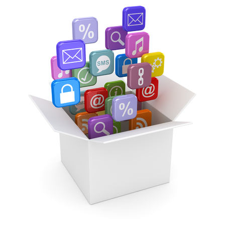 Open white cardboard and colorful smartphone app icons. 3d render and computer generated image. Stock Photo