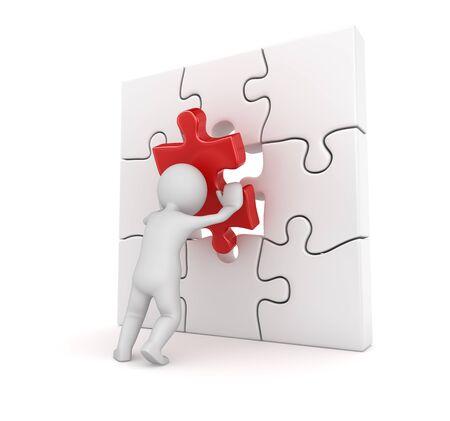 3d 3d 남자 빨간색 퍼즐 조각을 퍼 팅입니다. 3d 렌더링 및 컴퓨터 생성 이미지입니다.