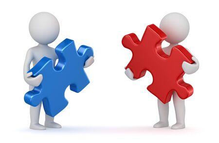 빨간색과 파란색 퍼즐 조각을 들고 두 남자. 3d 렌더링 및 컴퓨터 생성 이미지입니다.